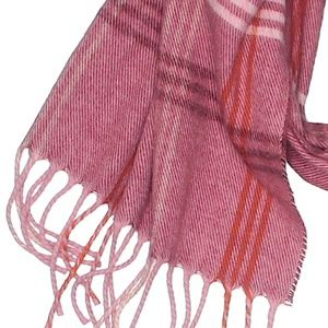 😽 5 for $25 Pink Red Plaid Winter Scarf w Fringe